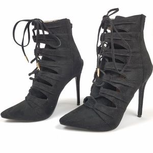 Lola Shoetique Lace Up Booties Pointed Stiletto
